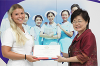 Congratulation ceremony for graduate Danish nursing students.