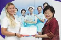 Congratulation ceremony for graduate Danish nursing students.