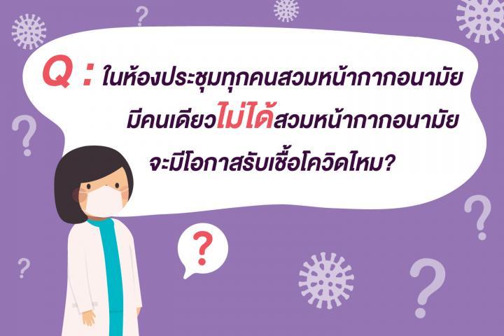 Q: ในห้องประชุมทุกคนสวมหน้ากากอนามัยมีคนเดียวไม่ได้ใส่จะมีโอกาสรับเชื้อโควิดมั้ย ?