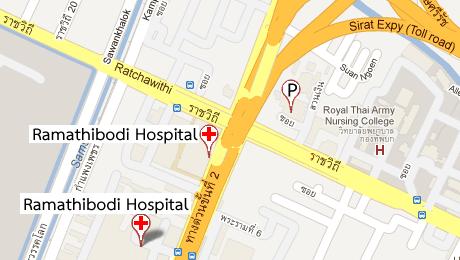 แผนที่คณะแพทยศาสตร์โรงพยาบาลรามาธิบดี