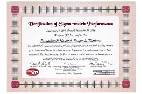 Ramathibodi Clinical Labs verified by Westgard QC Inc