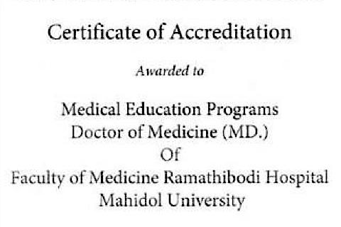 Ramathibodi M.D. program passed WFME standards