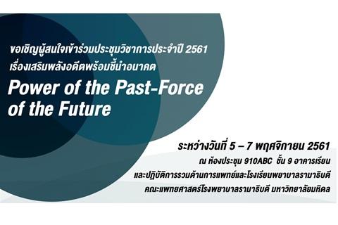 ขอเชิญผู้สนใจเข้าร่วมประชุมวิชาการประจำปี 2561 เรื่องเสริมพลังอดีตพร้อมชี้นำอนาคต Power of the Past-Force of the Future
