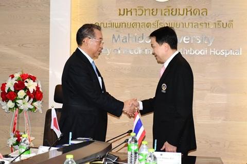 พิธีลงนามความร่วมมือ MOU Signing Ceremony ระหว่าง คณะแพทยศาสตร์โรงพยาบาลรามาธิบดี มหาวิทยาลัยมหิดล กับ Kansai Medical University ประเทศญี่ปุ่น