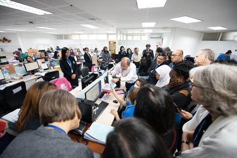 คณะผู้ร่วมงานการประชุมวิชาการนานาชาติรางวัลสมเด็จเจ้าฟ้ามหิดล ประจำปี 2563 เข้าศึกษาดูงานด้านระบบ DRGs กับการเบิกจ่ายค่ารักษาพยาบาลของคณะฯ