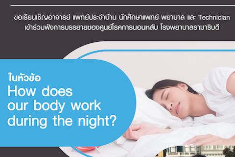 ขอเรียนเชิญอาจารย์ แพทย์ประจำบ้าน นักศึกษาแพทย์ พยาบาล และTechnician เข้าร่วมฟังการบรรยายในหัวข้อ Pulmonary, Cardiovascular & Endocrinology during sleep